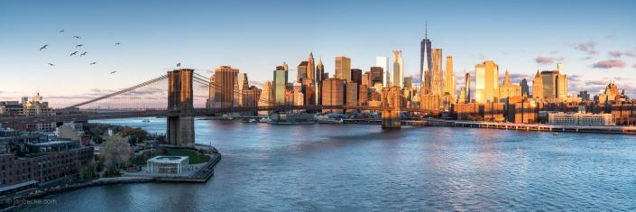 Brooklyn Bridge and Manhattan skyline panorama, New York City, USA