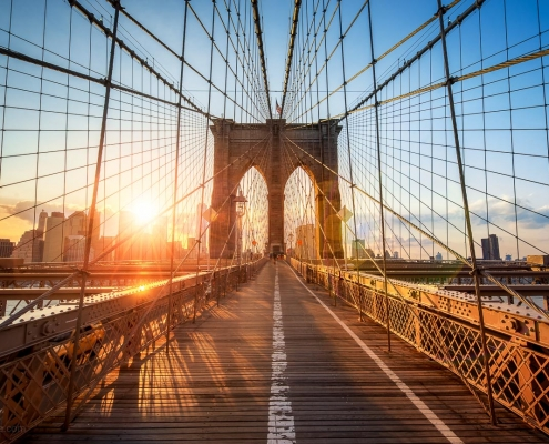 Brooklyn Bridge at sunset in New York City, USA