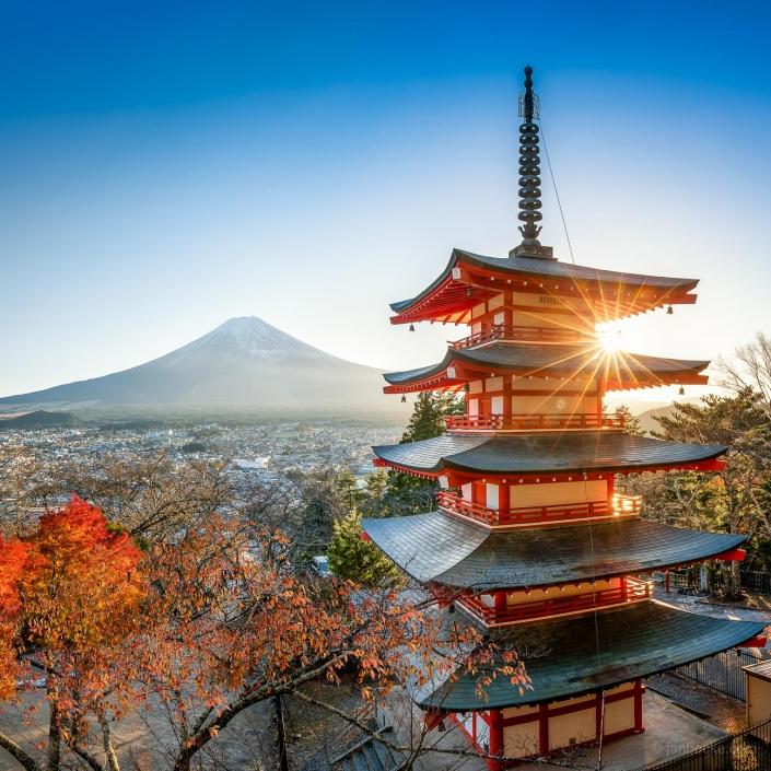 Chureito pagoda in autumn with Fujiyama