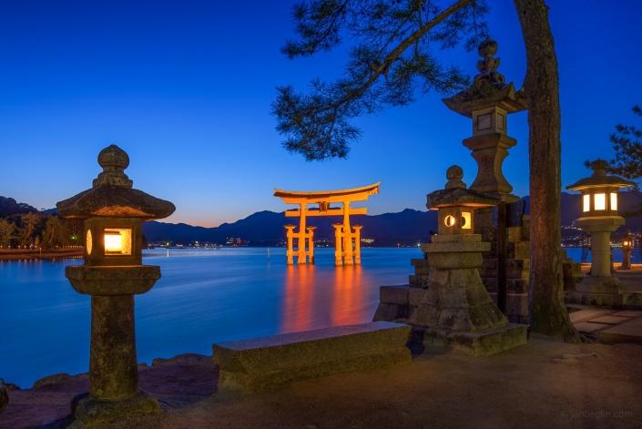 The great Torii of Miyajima at night, Japan