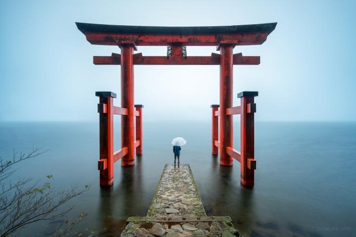 Torii of Hakone Shrine at Lake Ashi, Japan