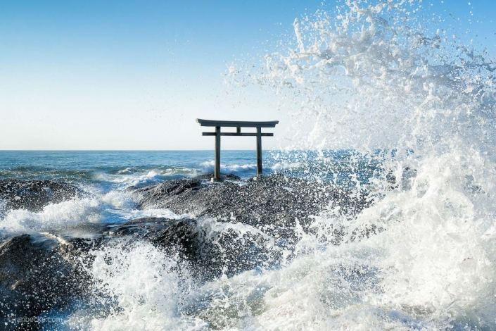 Great wave at the Torii gate of the Oarai Isosaki Shrine, Japan