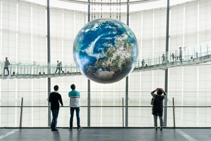 World globe at the National Museum of Emerging Science and Innovation (Miraikan), Odaiba, Tokyo, Japan