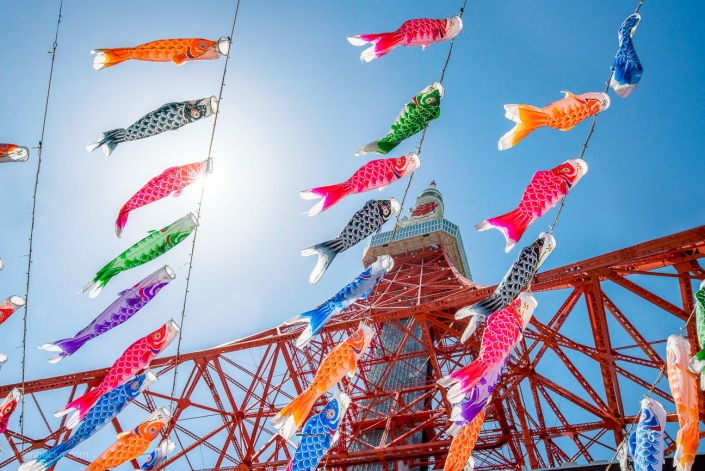 Koinobori at the Tokyo Tower during the Children's Day celebration, Tokyo, Japan