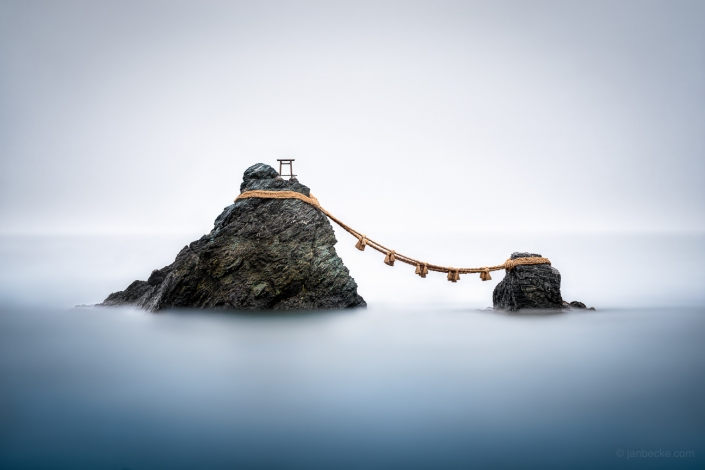 Meoto Iwa, the Wedded Rocks, are two sacred rocks in the ocean near Futami, a small town in Ise City, Japan