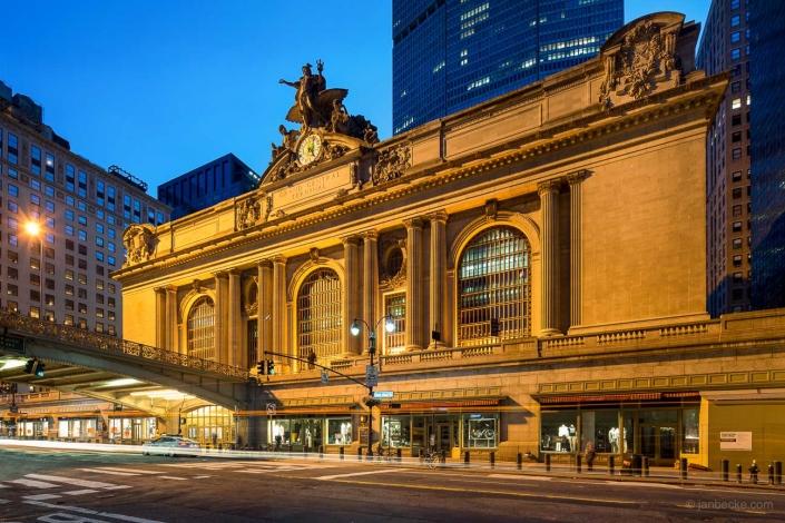Facade of the Grand Central Terminal at night, New York City, USA