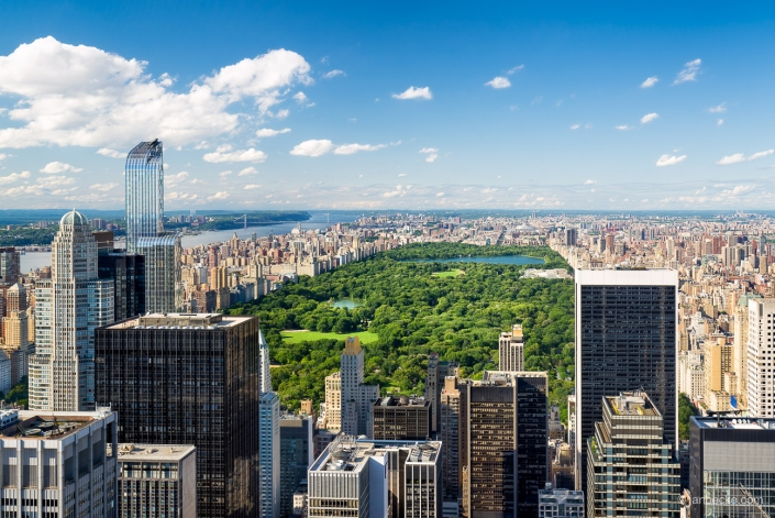 Aerial view of the Central Park in New York City, USA