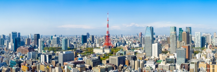 Tokyo skyline panorama with iconic Tokyo Tower