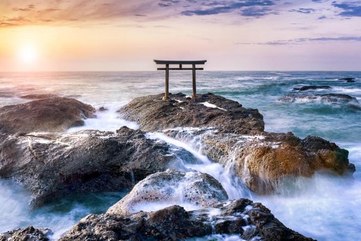 Torii gate of the Oarai Isosaki Shrine, Japan