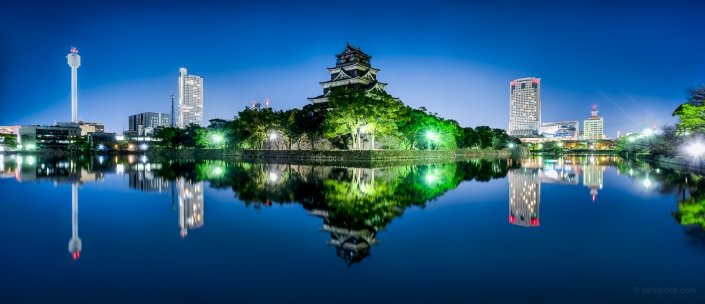 Panorama of the Hiroshima castle at night also known as the Carp Castle