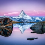 Matterhorn mountain and Stellisee in winter, Swiss Alps, Switzerland