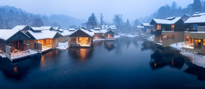 Houses in Karuizawa in winter, Nagano Prefecture, Japan