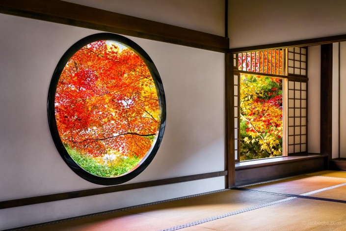 Round window in autumn at the Genko-an temple in Kyoto, Japan