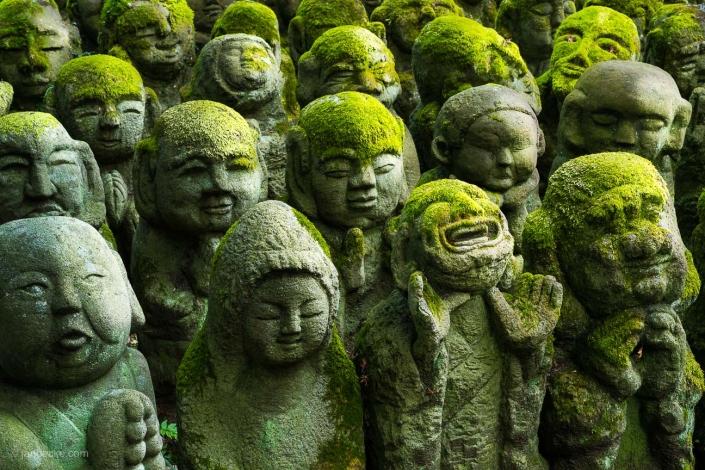 Moss statues at the Otagi Nenbutsu-ji temple in Arashiyama, Kyoto, Japan