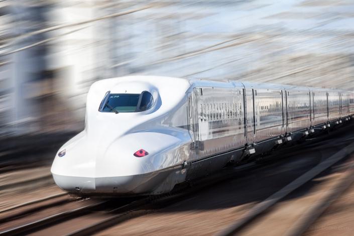 Shinkansen bullet train at high speed