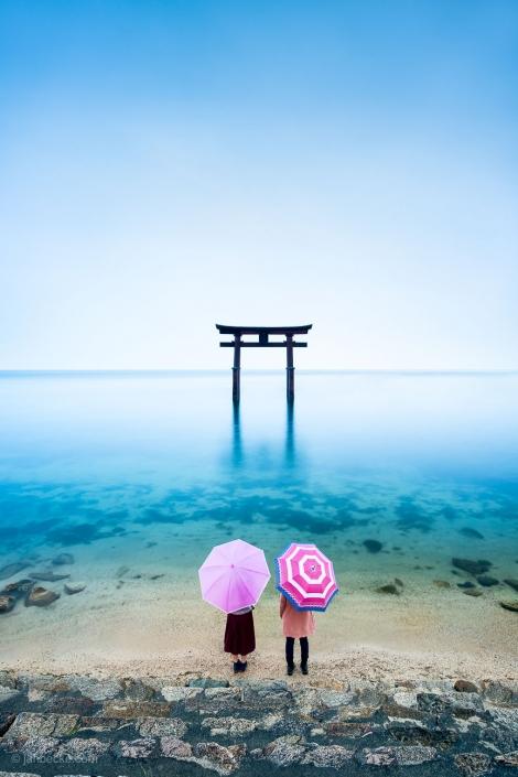 Torii gate of the Shirahige Shrine floating in Lake Biwa, Japan