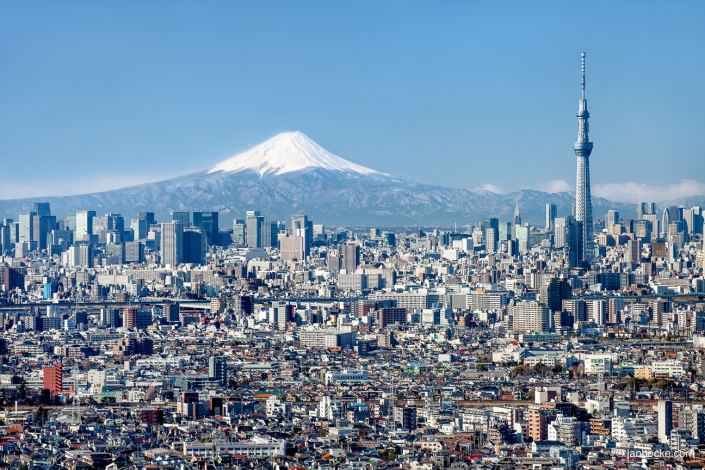 Tokyo skyline with Mount Fuji and Tokyo Skytree