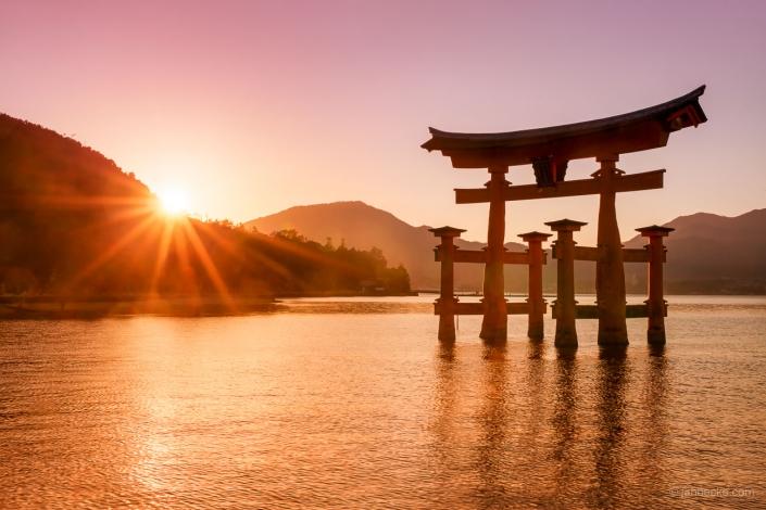 The great Torii of Miyajima at sunset