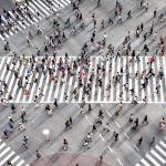 Aerial view of the Shibuya Crossing in Tokyo, Japan