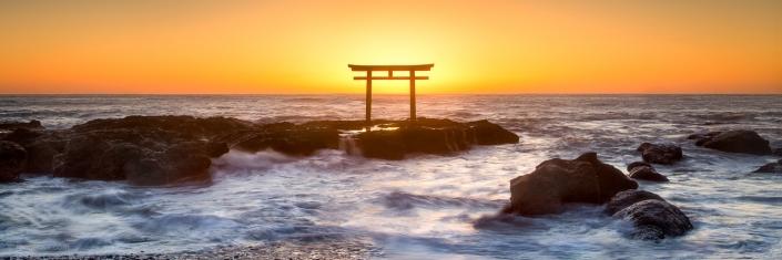 Sunrise at the Oarai Isosaki Shrine, Japan