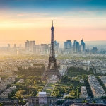 Paris skyline panorama with Eiffel Tower at sunset