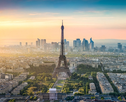 Paris skyline panorama with Eiffel Tower at sunset