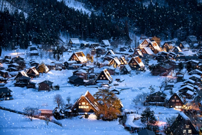 Historic village of Shirakawago in winter, Gifu Prefecture, Japan