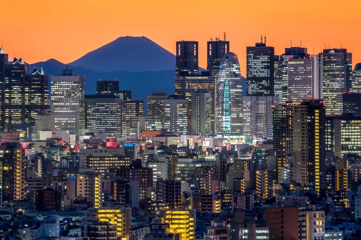 Tokyo skyline at night with view towards the Shinjuku business district and Mount Fuji in the background