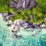 Anse Source d'Argent aerial view on La Digue island, Seychelles