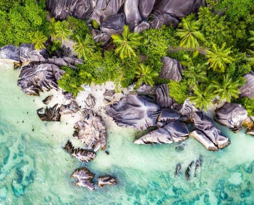 Anse Source d'Argent aerial view on La Digue island, Seychelles