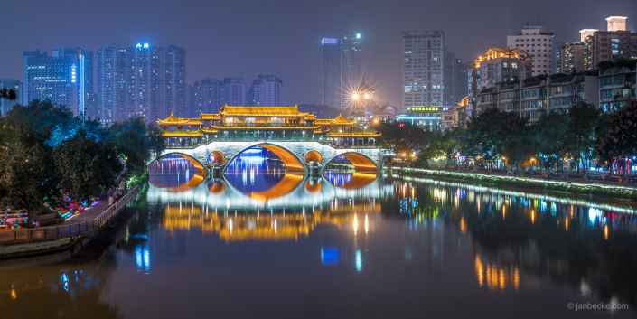 Anshun bridge in Chengdu at night, Sichuan province, China