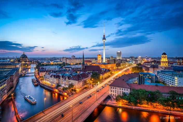 Berlin skyline at dusk with Fernsehturm and Spree river