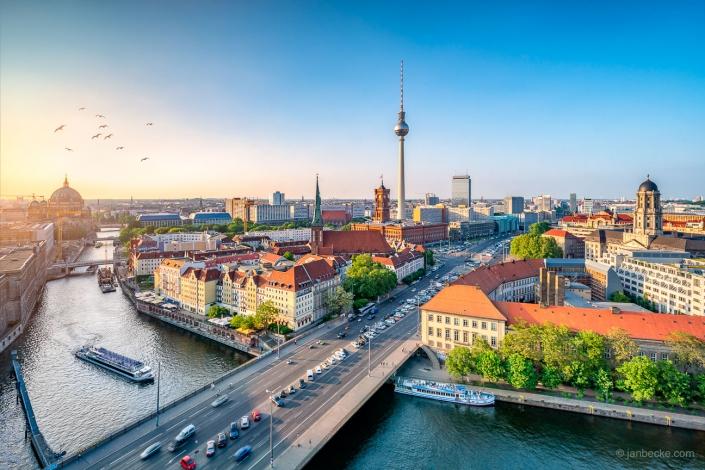 Berlin skyline along the Spree river with Fernsehturm