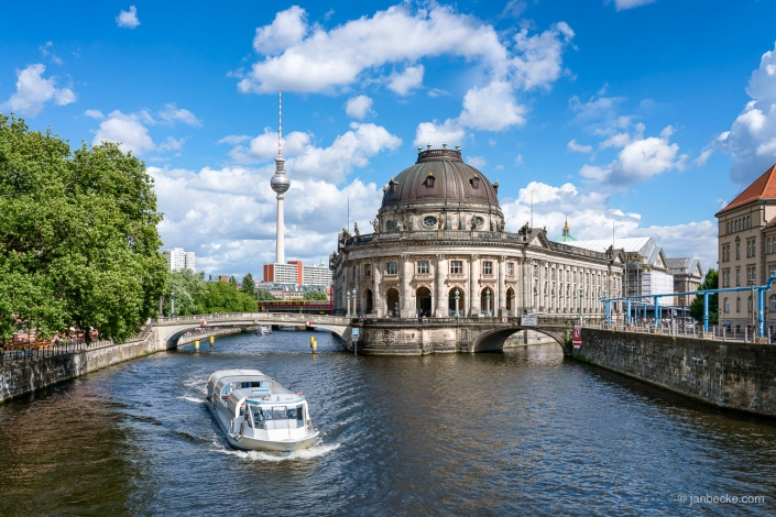 Bode Museum in summer located on the Mu