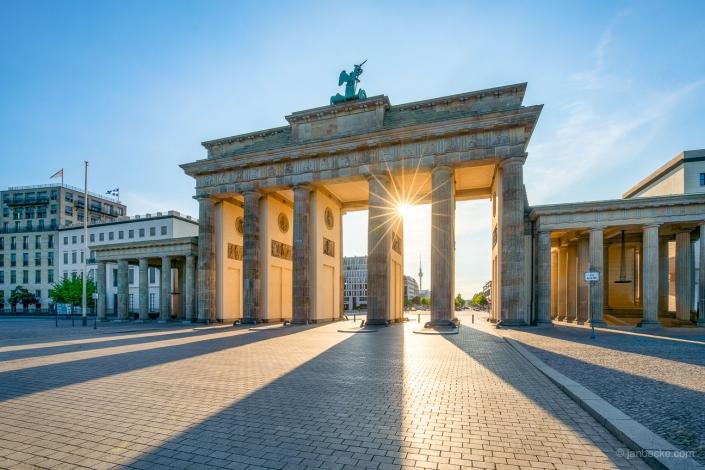 Brandenburg Gate in Berlin at sunrise