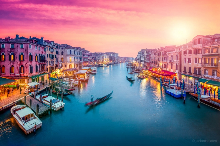 Canal Grande at sunset with gondola, Venice, Italy