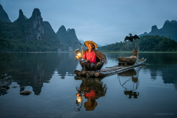 Chinese kormoran fisherman near Yangshou, China