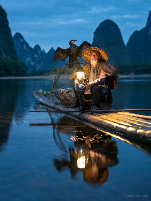 Traditional Chinese kormoran fisherman near Guilin, China