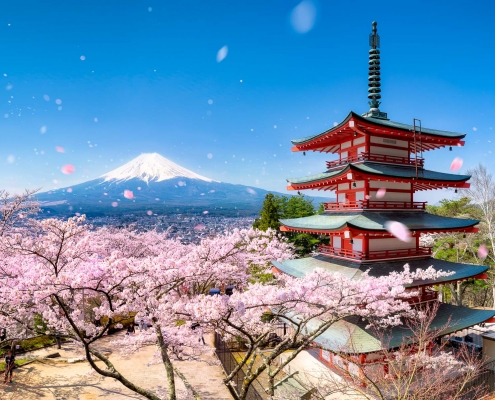 Chureito Pagoda of the Arakura Sengen Shrine during spring with Mount Fuji, Fujiyoshida, Japan
