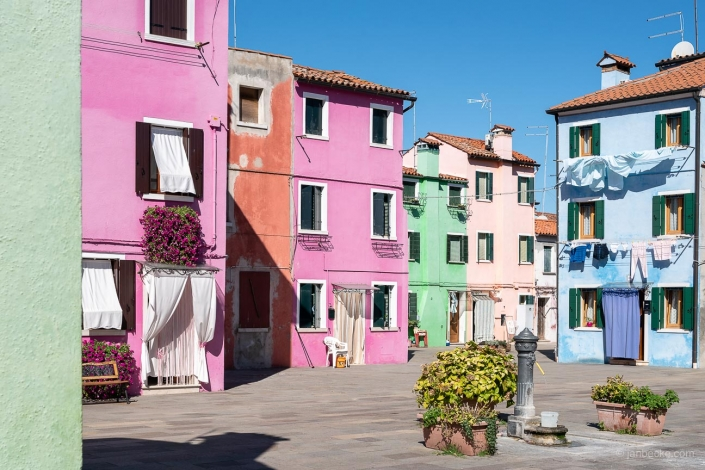 Colorful houses on the island of Burano in Italy