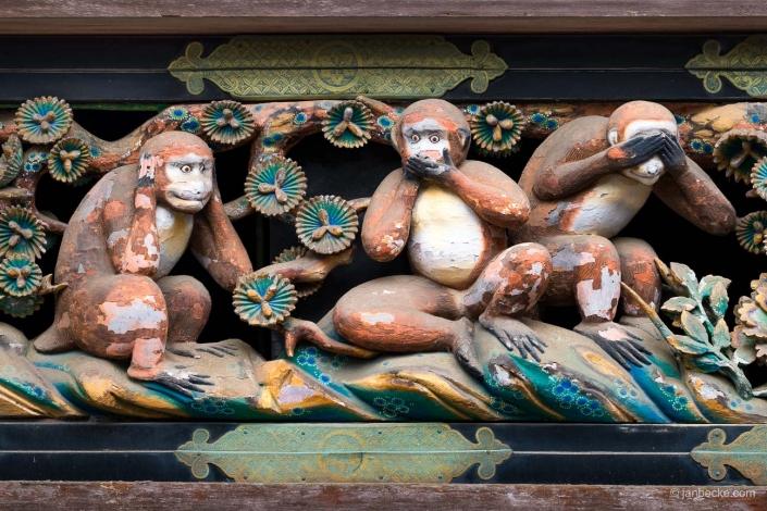 Three wise monkeys at the Tōshō-gū shrine in Nikkō, Japan