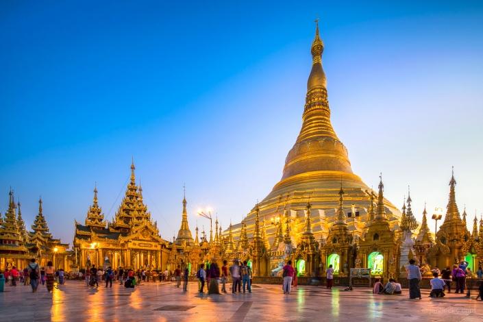 The Shwedagon Pagoda is a stupa located in Yangon, Myanmar