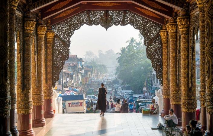 Entrance to the Shwedagon pagoda in Yangon, Myanmar