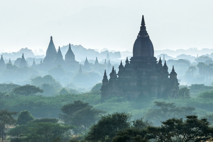 Early morning in Bagan with view towards Ananda Temple