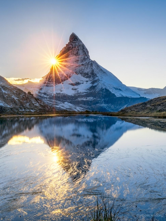 Riffelsee and Matterhorn peak in the Swiss alps, Switzerland