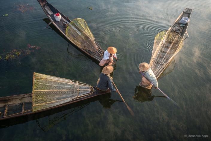 Intha fisherman on Inle lake in Myanmar