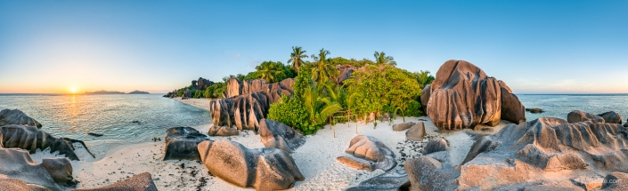 Anse Source d'Argent panorama at sunset, La Digue, Seychelles