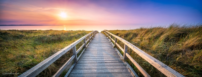 Beautiful sunset panorama of a wooden pier and dunes at the Baltic Sea in Germany