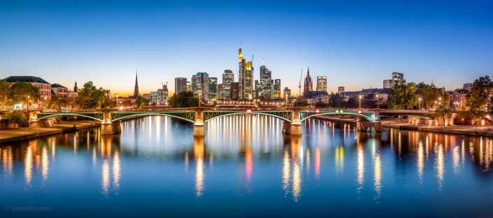 The Ignatz Bubis Bridge and skyline of Frankfurt am Main, Hesse, Germany