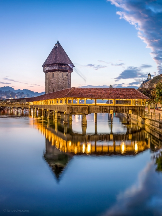 Lucerne Kappelbrücke at dusk, Switzerland
